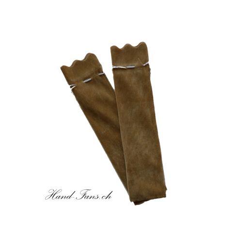 Handfächer Samtsäckchen Braun 2 Stück