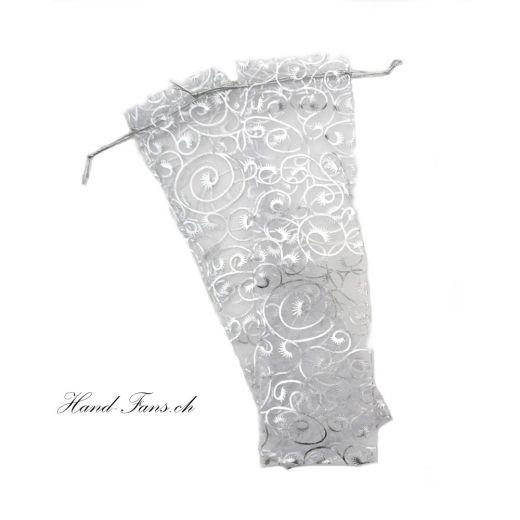 Handfächer Nylonsäckchen Silber