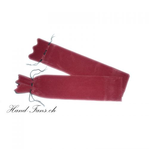 Hand Fan Velvet Shell Red 2 pieces