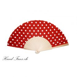 Hand Fan Luna Punto Red