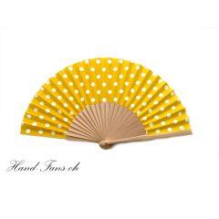 Hand Fan Luna Punto Yellow