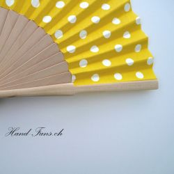 Hand Fan Luna Punto Yellow