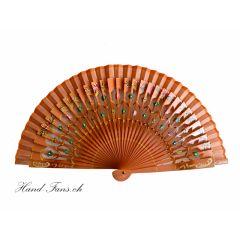Hand Fan Floral Orange