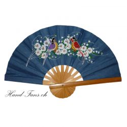 Hand Fan Dark Blue Paint