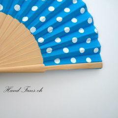 Handfächer Luna Punto Blau